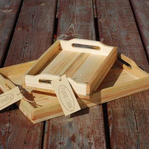 zestaw tacek drewnianych taca drewniana