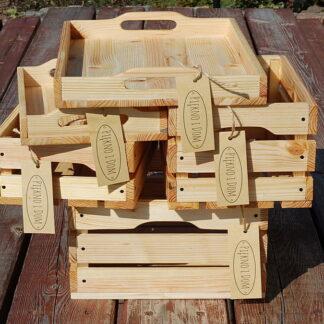 zestaw skrzynek z tacami dekoracyjna skrzynka drewniana