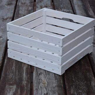 Drewniana biała skrzynkakwadratowa