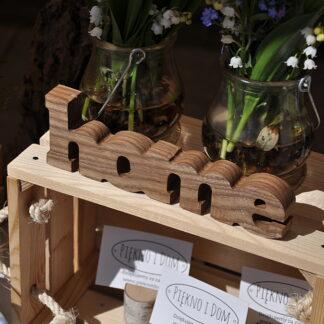 drewniany napis home