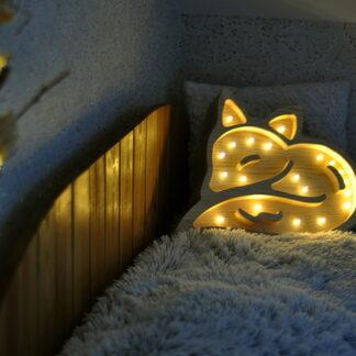 drewniana lampka lisek