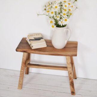 drewniana ławeczka mała konsola stołek orzech włoski