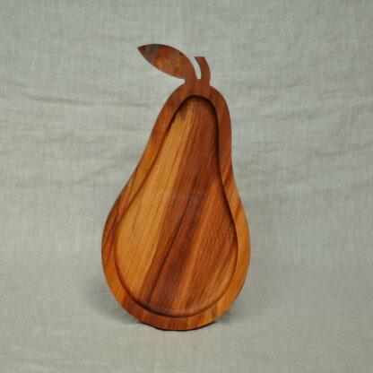drewniana patera na owoce gruszka