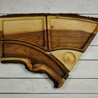 zestaw pater z drewna orzechowego