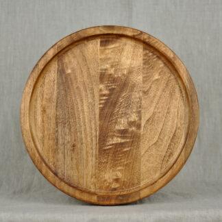 okrągła drewniana taca